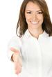 Businesswoman giving hand for handshake, on white
