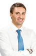 Portrait of happy smiling business man, isolated