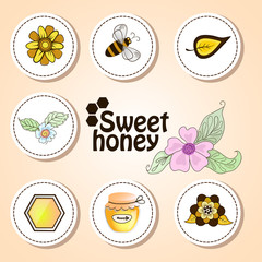 Vector stickers sweet honey