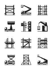 Scaffolding and construction cranes icon set