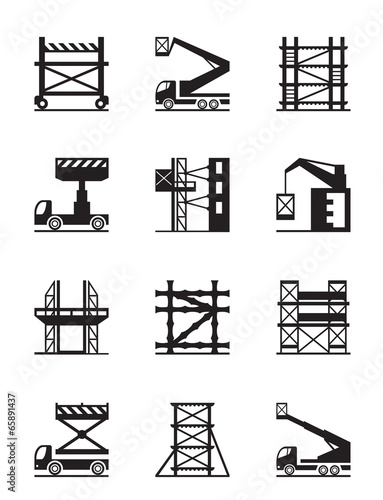 Scaffolding and construction cranes icon set - 65891437