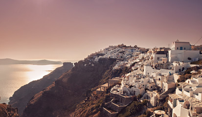 Santorini village at dusk