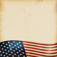 Grunge background with wavy USA flag
