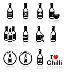 Hot chilli sauce bottle icons set