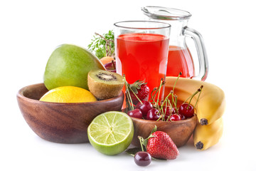 healthy multivitamin juice with various fruit and vegetables
