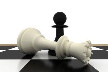Black pawn standing over fallen white queen