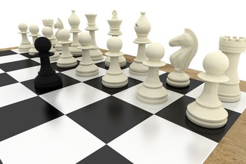 Black pawn facing white pieces