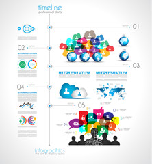 Timeline Infographic design template with paper tags