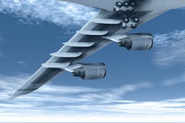 Tragfläche eines Verkehrsflugzeugs im Flug
