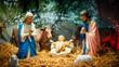 Christmas nativity scene with baby Jesus, Mary & Joseph in barn
