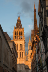 Rue du Gros Horloge and Rouen Notre Dame cathedral