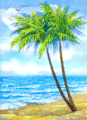Watercolor landscape. Tall palms on a sandy beach