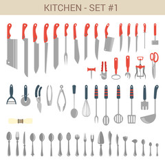 Flat style tableware cutlery vector icon set. Knifes, accessory.