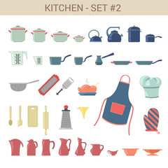 Flat style kitchenware vector icon set. Pot, kettle, cezve etc.