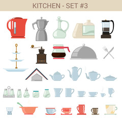 Flat style kitchenware vector icon set. Kettle, pot, sause etc.