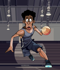 cartoon basketball player runs with the ball