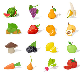Funny children fruit and vegetable icon set. Healthy food.