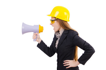 Female construction worker with loudspeaker isolated on white