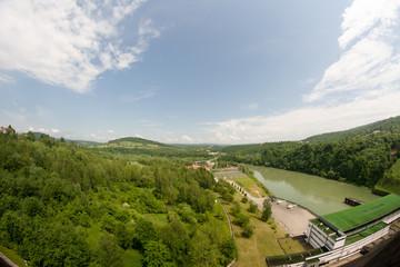 Widok z zapory wodnej na Sanie, SOLINA, Polska