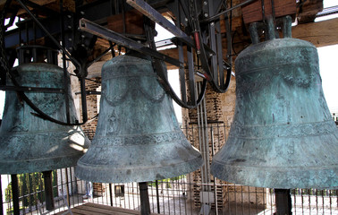 ancient bronze bells historical in the Bell Tower of the Church