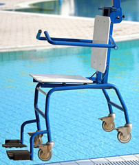 Chair for disabled people to make use of the pool for the handic