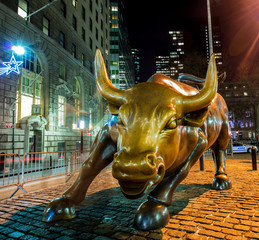Famous bull statue near Wall Street in New York
