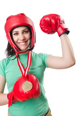 Woman boxer isolated on the white background