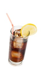 fresh coke with straw with lemon slice on top, summer time