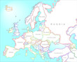 Map of Europe in vintage style