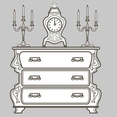 Furniture. Antique dresser, mantel clocks and candlestick