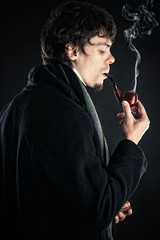 Sherlock Holmes with a pipe