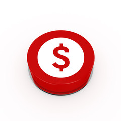 3d Dollar Web Button - isolated