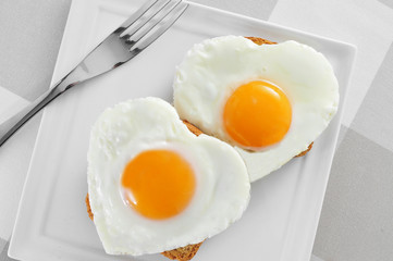 heart-shaped fried eggs