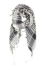 Linen scarf in black and white cage