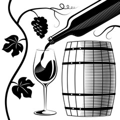 wine glass and bottle and wooden barrel imitation of engraving