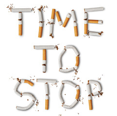 Text ''time to stop'' made from broken cigarettes