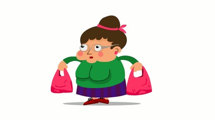 Großmutter, Hausfrau shopping Animation