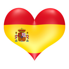 Spanish flag in 3D heart shape