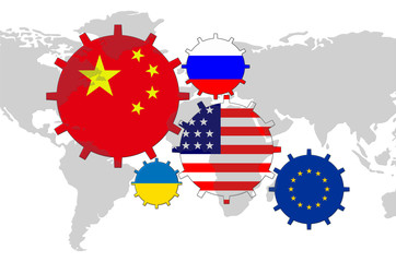 Flags on the world map - China, USA, EU, Russia, Ukraine