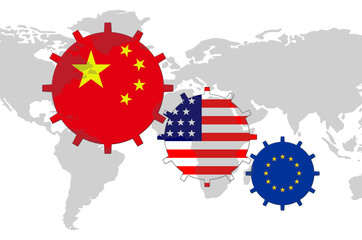 Gears with flags on the map of world - China, USA, EU