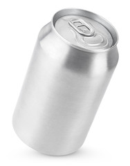 330 ml aluminum soda can isolated on white with clipping path