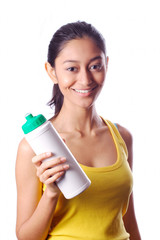 Young beautiful holding sport water bottle