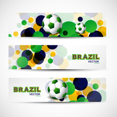 Vector illustration brazil flag colors three bubbles circles soc