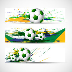 Brazil flag colors three grunge header set soccer ball vector il