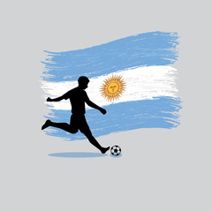 Soccer Player action with Argentine Republic flag on background