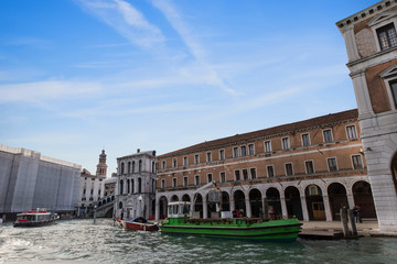 Classic view of Venice with Grand canal and old buildings