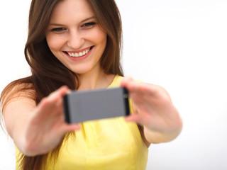 Beautiful girl taken taking selfie self-portrait with phone
