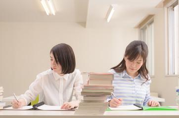 勉強中の二人の学生