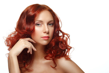 Long Curly Red Hair. Fashion Woman Portrait.