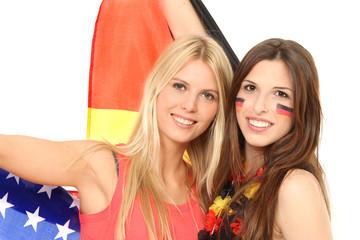 Fußballfans aus USA und Deutschland